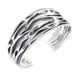 Silver Ripple Cuff Bangle
