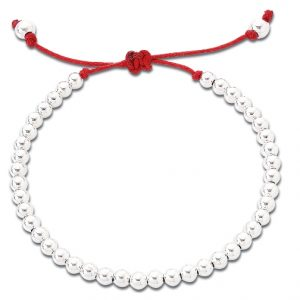 Silver friendship bracelet red