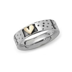 Silver Dotty heart ring