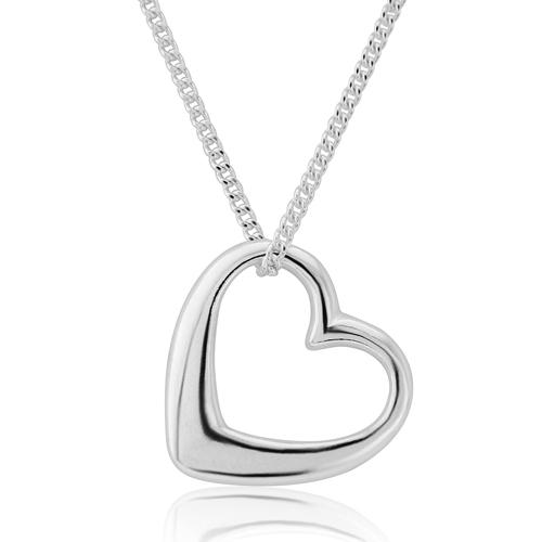 Silver open heart necklace equinox silver jewellery silver open heart necklace aloadofball Gallery