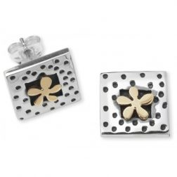 Silver and gold dotty flower earrings