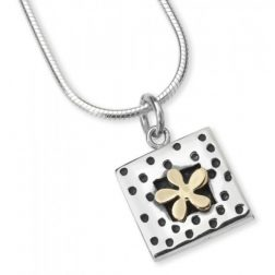 Silver and gold dotty flower necklace