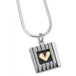 Silver and gold love squared necklace