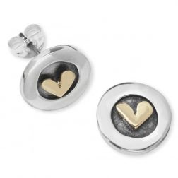 Silver and gold petite heart earrings