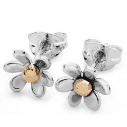 Silver and gold small daisy earrings