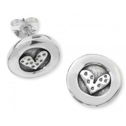 Silver dotty heart earrings