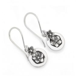 Silver forget me not drop earrings