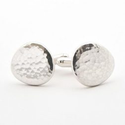 Silver pebble cufflinks