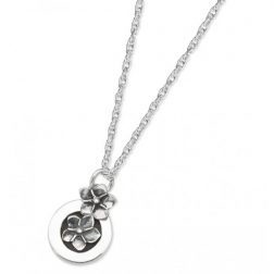 Silver round forget me not necklace