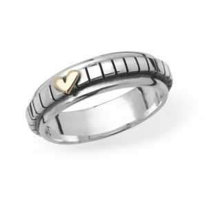 Silver And Gold Stripey hearts ring