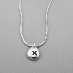 Silver Pebble Kiss Necklace