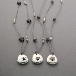 Silver pebble strand necklaces