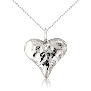 silver hammered heart pendant