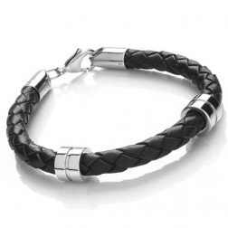 Mens Steel Banded Leather Bracelet
