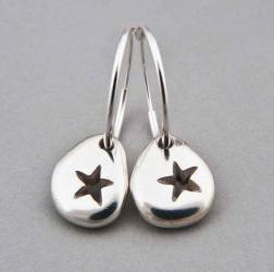Silver Star Pebble Hoop Earrings