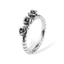 Silver roses ring