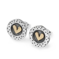 Silver round heart earrings