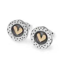 Silver round heart earrings