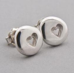Silver Pebble Heart Earrings