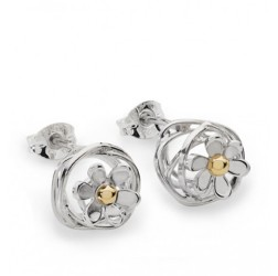 silver scribbles daisy earrings