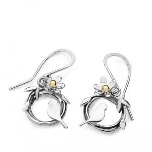 Silver Entwined Lovebird Earrings