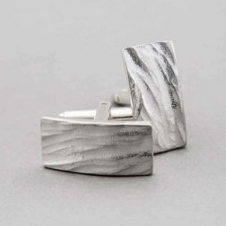 Silver Curved Rock Cufflinks