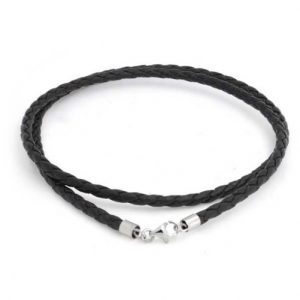 Mens Black Leather Necklace