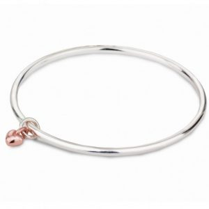Silver Sweetheart Bangle-Rose Gold Heart