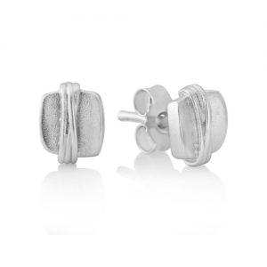 silver cubed stud earrings