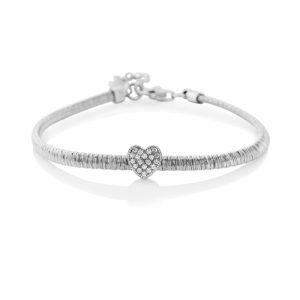 Silver Dazzle Heart Bracelet