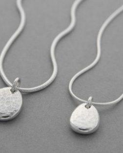 Silver Ripple Pebble Necklace
