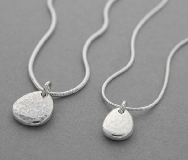 Silver Ripple Pebble Necklace