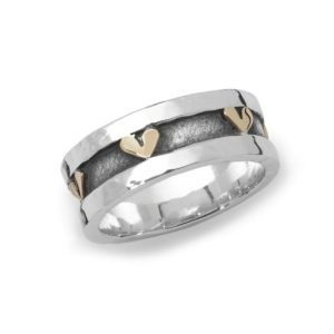 Silver And Gold Hearts Ring