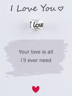 Silver I Love You Mojo Charmbead
