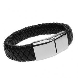Black wide leather bracelet