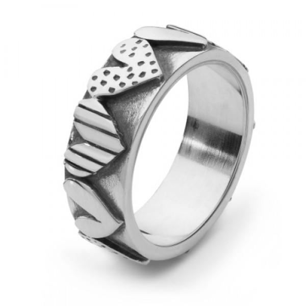 Silver Dotty hearts ring