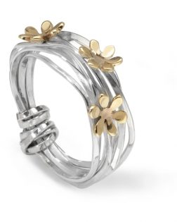 Silver And Gold Scribbles Ring