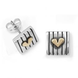 Silver and gold love squared earrings