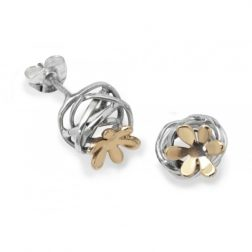 Silver and gold scribbles earrings