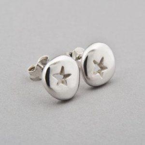 Silver Pebble Star Earrings