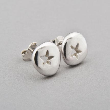 Silver Pebble Star Earrings