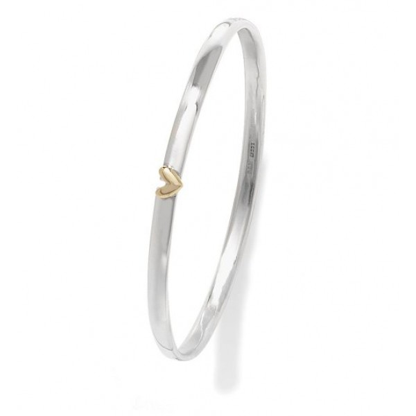 Silver And Gold Floating Heart Bangle