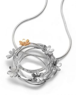 Silver and gold scribbles necklace