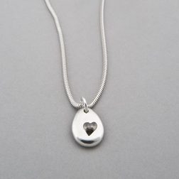 silver pebble heart necklace