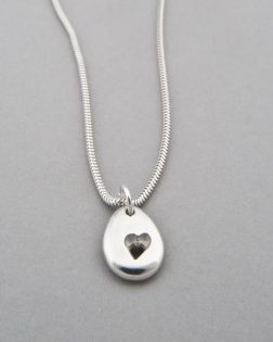 silver pebble heart necklace