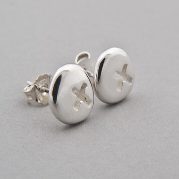 Silver Pebble Kiss Earrings