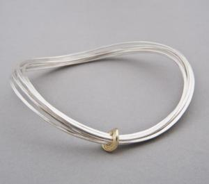 Silver curved ripple bangle