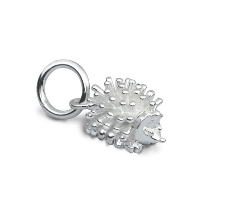 Silver hedgehog charm