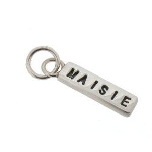 silver name bar charm