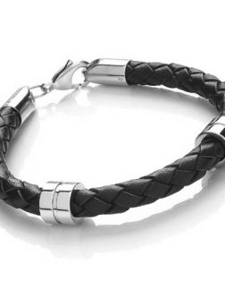 Mens Steel Banded Leather Bracelet